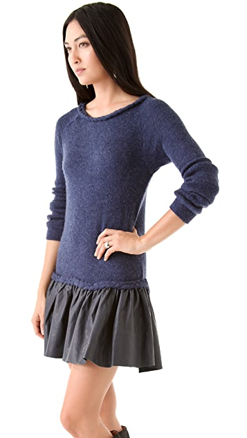 Thakoon Addition Leather Skirt Drop Dress