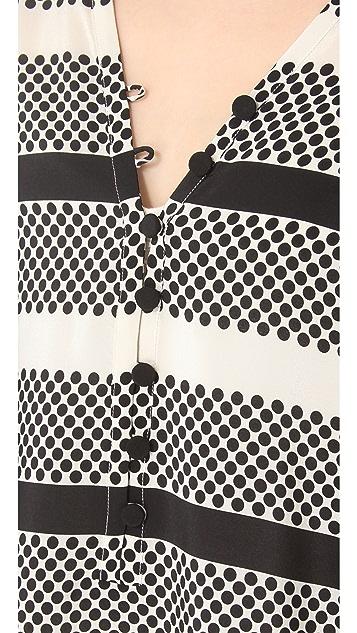Thakoon Addition Dot & Stripe Caftan