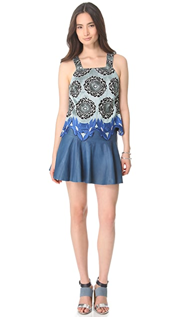 Thakoon Addition Leather Skirted Tank Dress