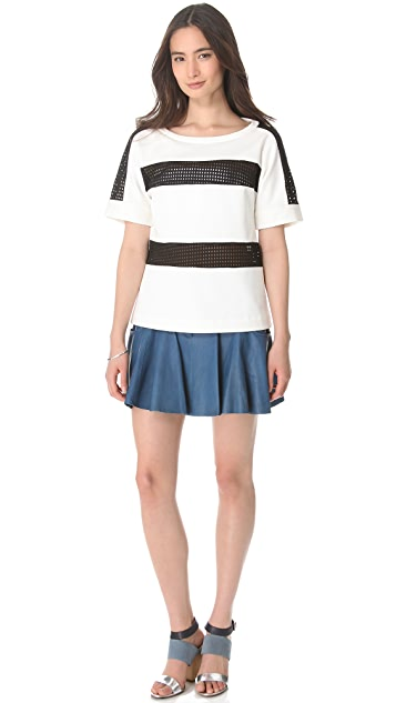 Thakoon Addition Leather Combo Mini Skirt