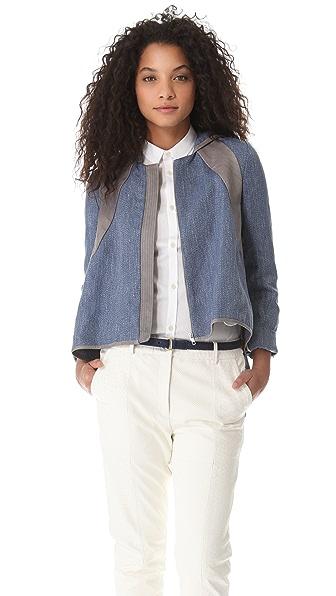 Thakoon Addition Hooded Leather Insert Jacket