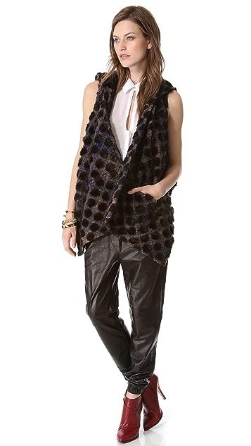 Thakoon Addition Dot Plaid Hooded Vest