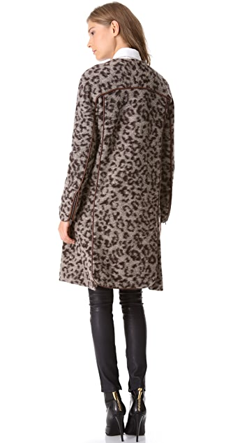 Thakoon Addition Leopard Coat with Leather Trim