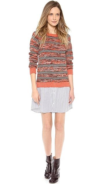 Thakoon Addition Marled Stripe Sweatshirt Dress