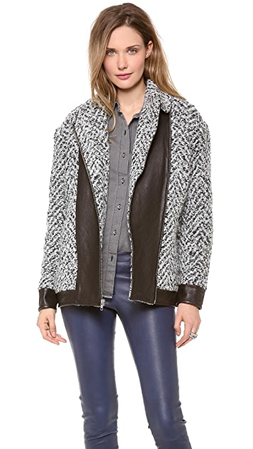 Thakoon Addition Quilted Leather Combo Coat