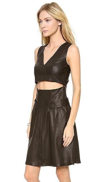 Thakoon Addition Cutout Midriff Leather Dress