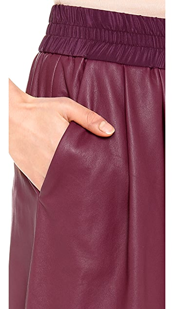 Thakoon Addition Leather Wide Leg Culotte Pants