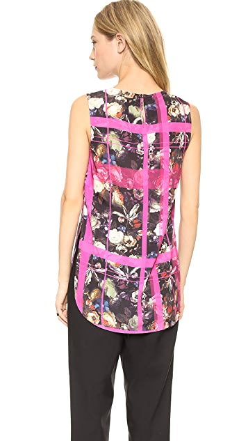 Thakoon Addition Floral Plaid Sleeveless Top