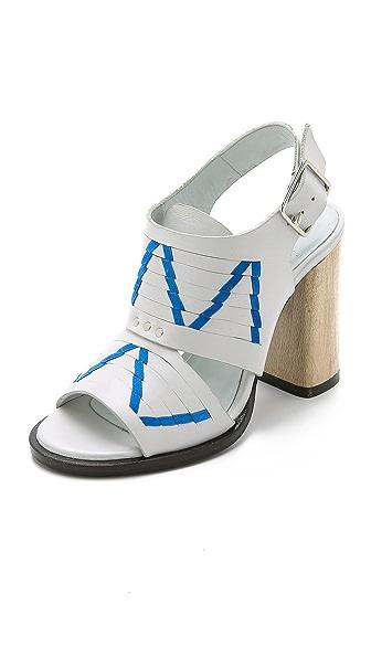 Kupi Thakoon Addition online i prodaja Thakoon Addition Lizzy Chunky Heel Sandals Off White/Pacific haljinu online