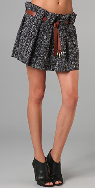 Thakoon Tweed Full Miniskirt with Belt