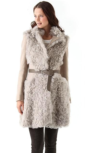 Thakoon Shearling Combo Coat