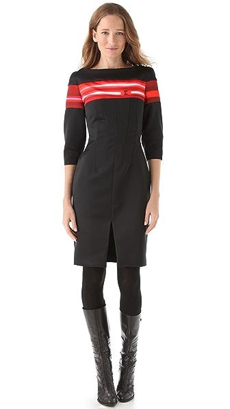 Thakoon Satin Dress with Neon Stripes