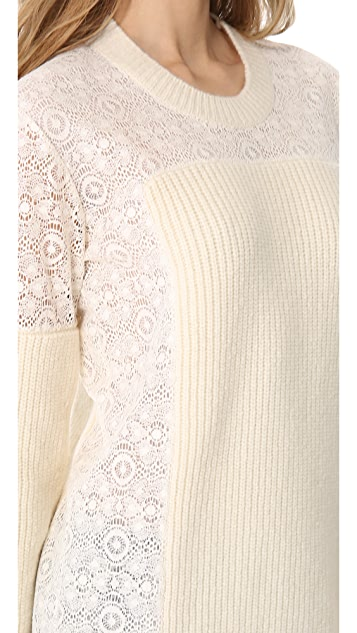 Thakoon Ribbed Lace Inset Tunic