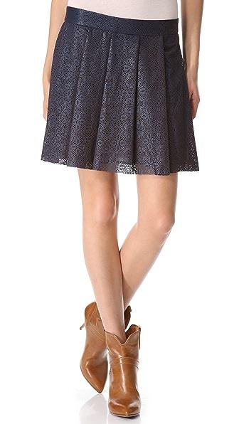 Thakoon Laser Cut Leather Pleated Skirt