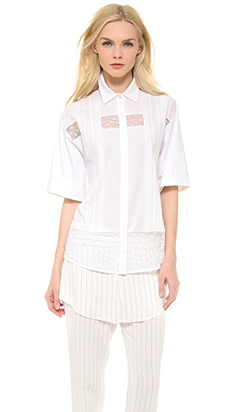 Thakoon Shadow Stripe Lace Shirt
