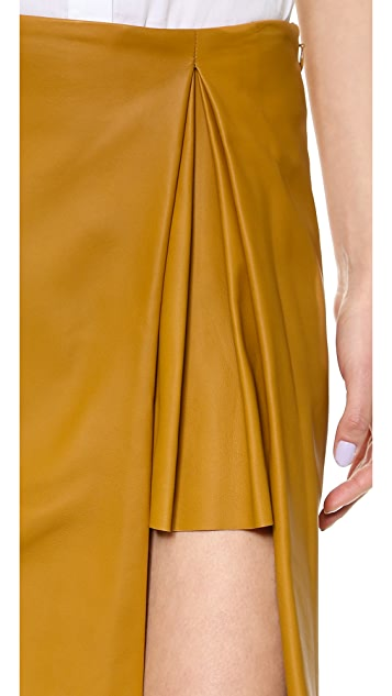 Thakoon Pleated Slit Leather Skirt