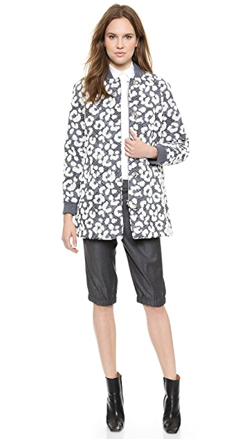 Thakoon Flocked Leopard Bomber Coat