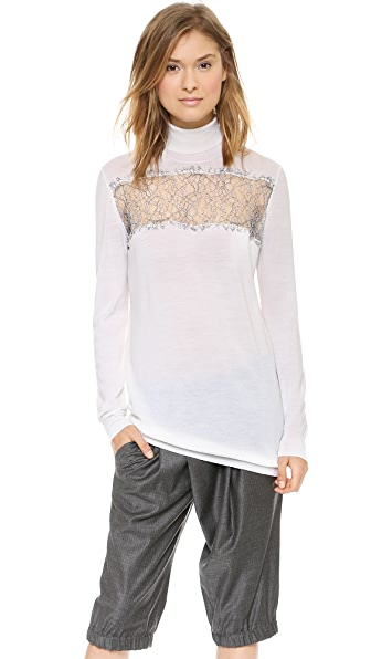 Thakoon Lace Inset Turtleneck Sweater