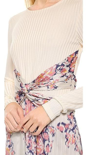 Thakoon Long Sleeve Wrap Waist Dress