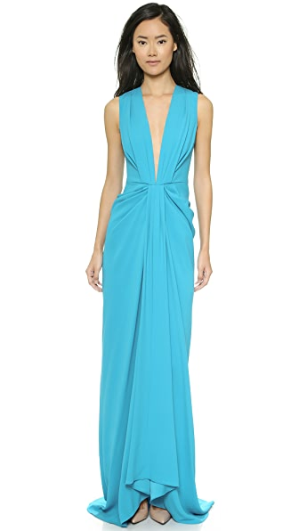 Thakoon V-Neck Plunge Front Gown