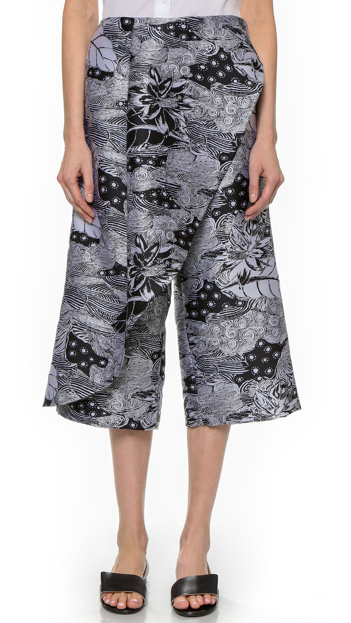 Thakoon Cross Front Cropped Pants - Black/White at Shopbop