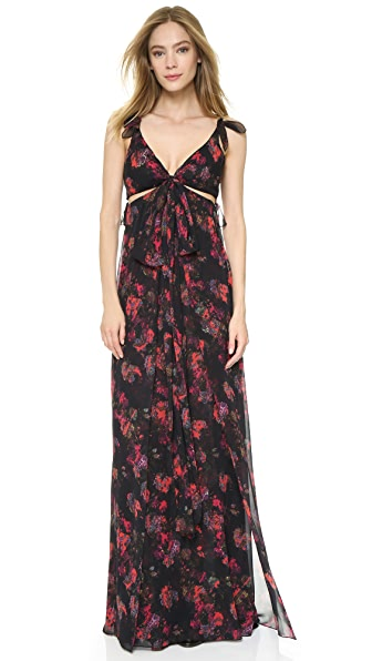 Thakoon Knotted Gown with Cutouts - Black Multi