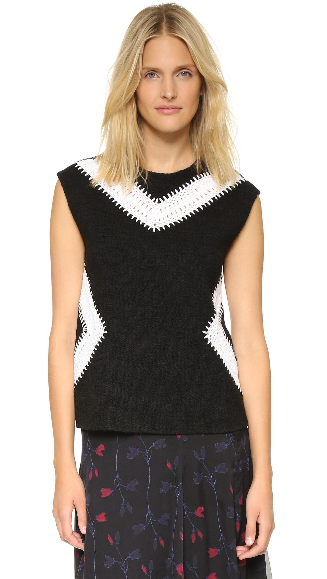Thakoon Sleeveless Crochet Inset Top - Black at Shopbop