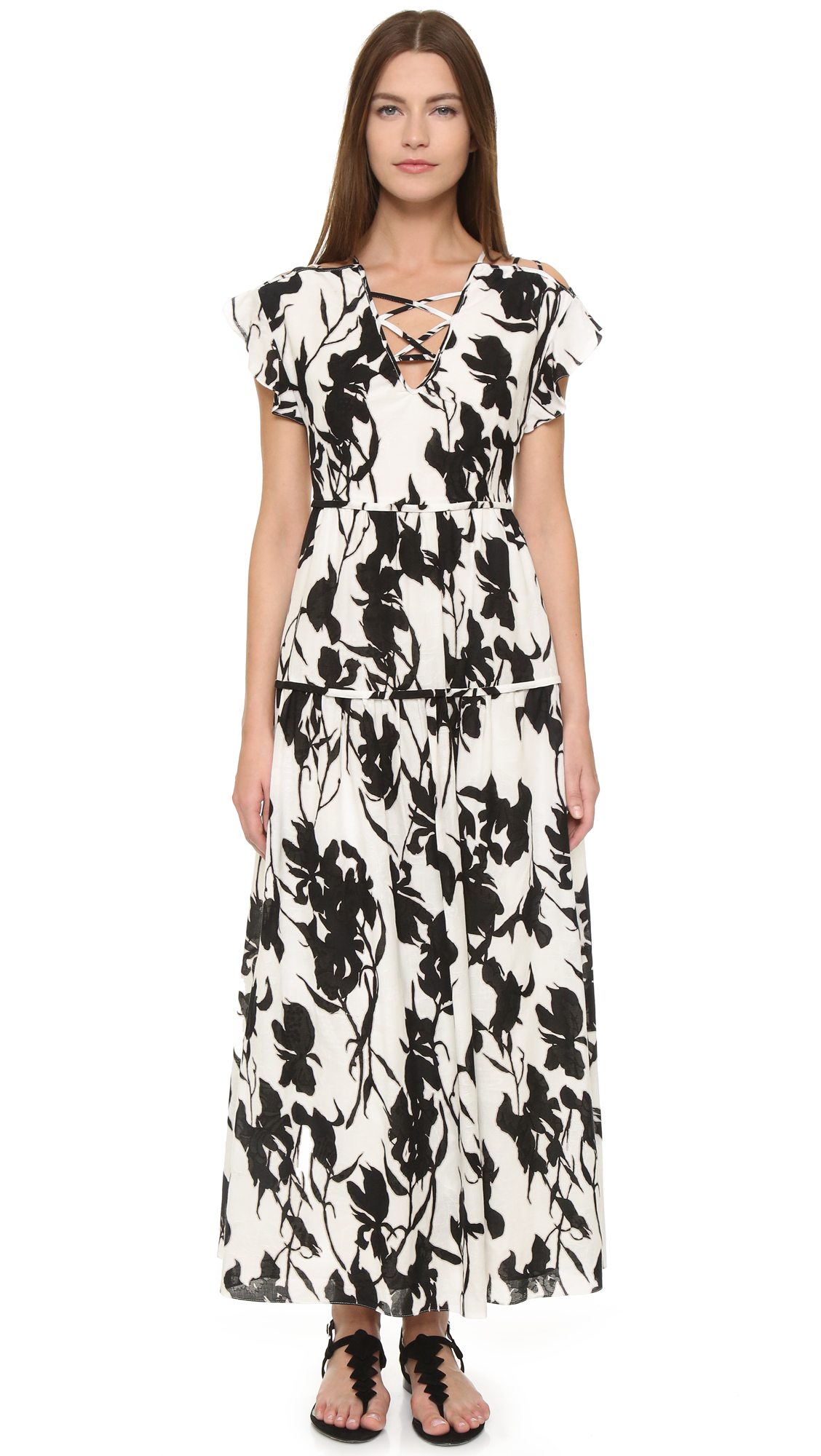 Thakoon Lace Up Floral Dress - Black/White at Shopbop