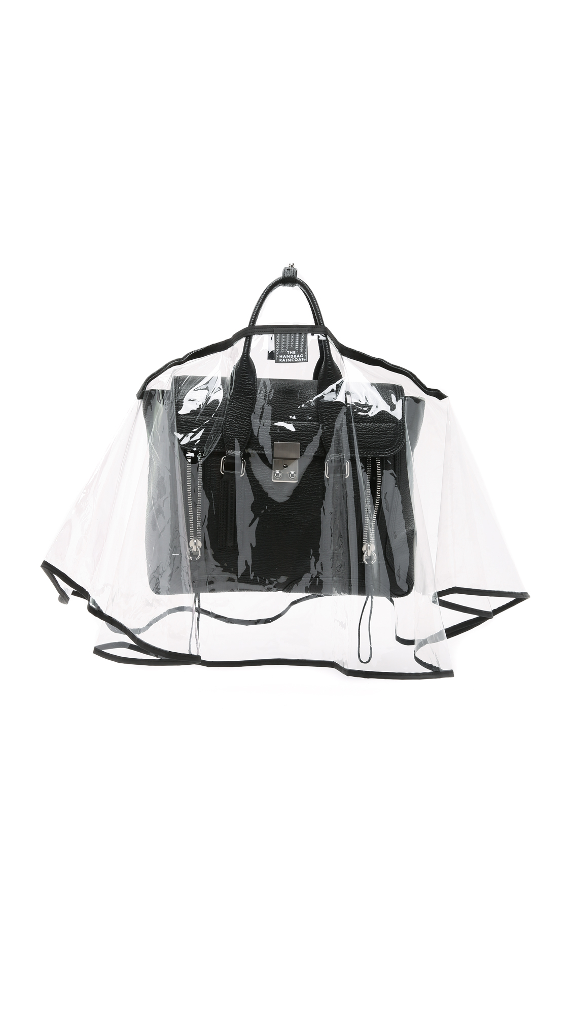 The Handbag Raincoat Large City Slicker Handbag Raincoat - Clear/Black