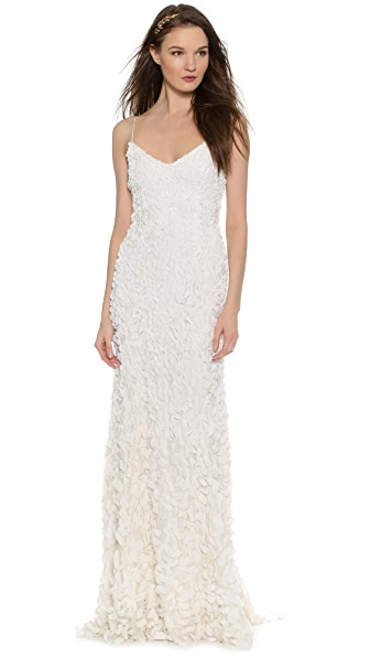 Theia Sleeveless Petal Gown In Ivory