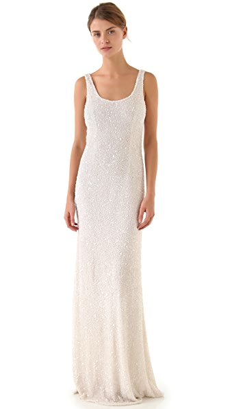 Theia Allover Beaded Gown