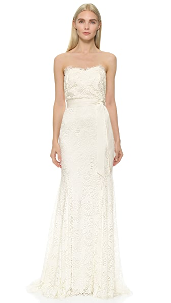 Theia Sweetheart Strapless Lace Gown at Shopbop