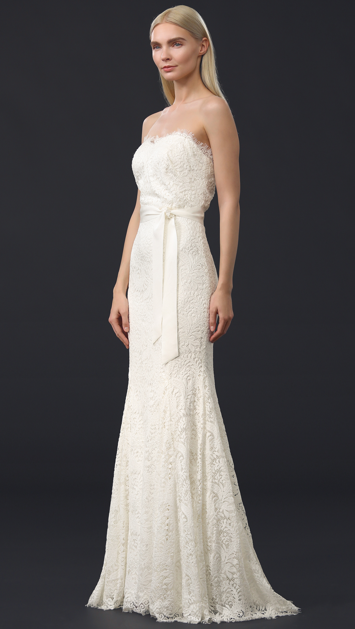 Theia Sweetheart Strapless Lace Gown | SHOPBOP