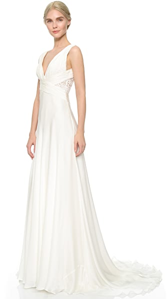 Theia Ruched Chiffon Gown In Off White