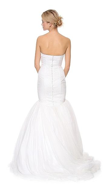 Theia Faith Strapless Tulle Mermaid Gown