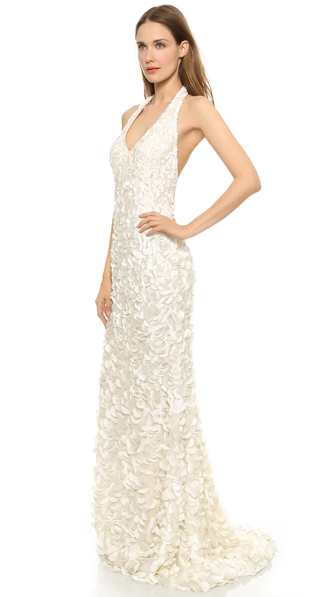 Theia Christie Halter Petal Gown | SHOPBOP