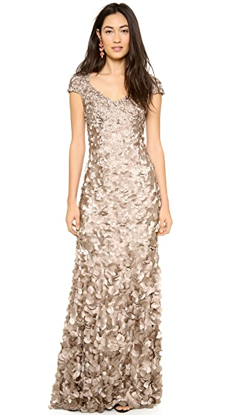 Theia Petal Cap Sleeve Gown