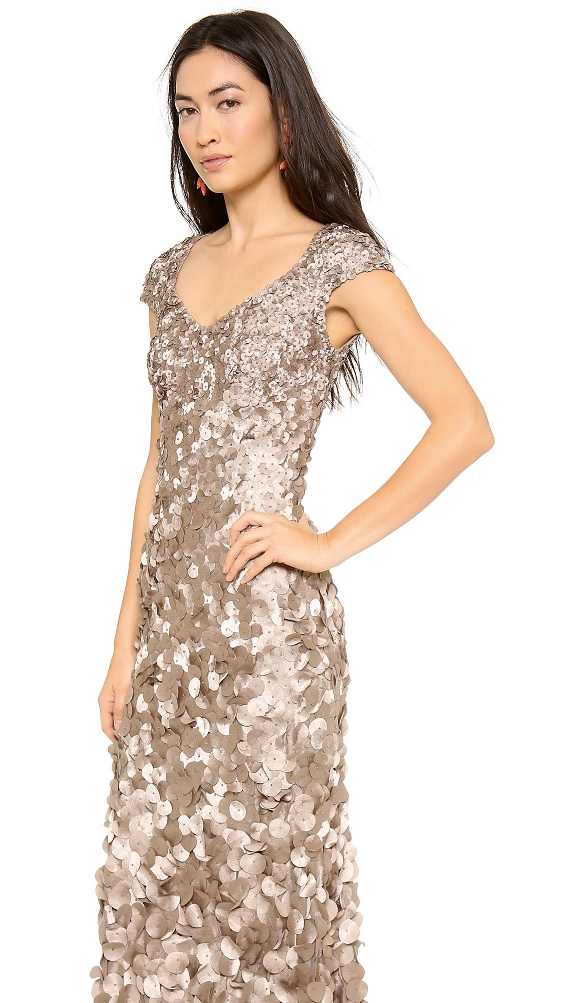 Theia Petal Cap Sleeve Gown | SHOPBOP