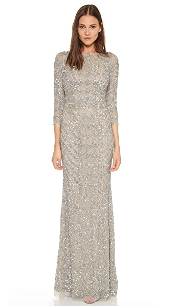 Theia V Back Sequin Gown - Platinum $1,595.00 AT vintagedancer.com