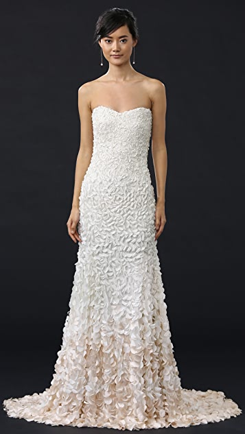 Theia Courtney Strapless Petal Gown