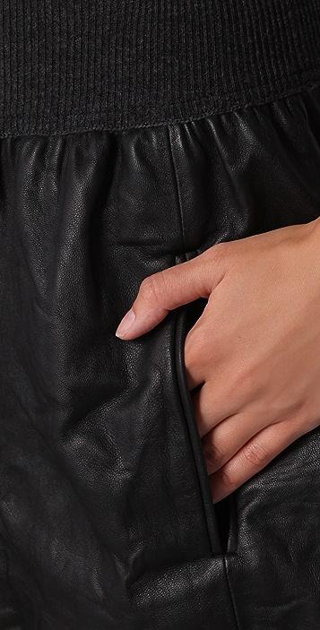 Theory Light Leather Blisa Skirt