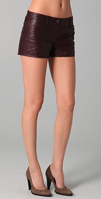 Theory Rilian Leather Shorts