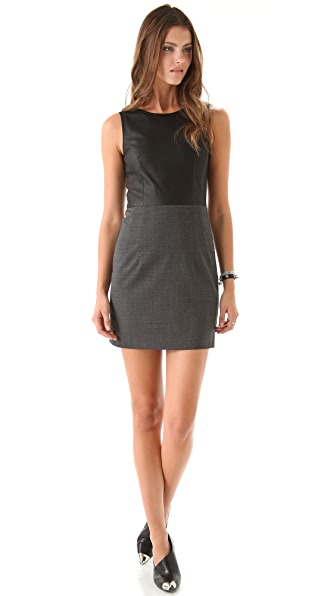 Theory Tirionne C Dress with Leather Top