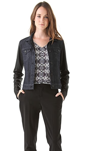 Theory Ethel L Corsica Jacket with Leather Sleeves