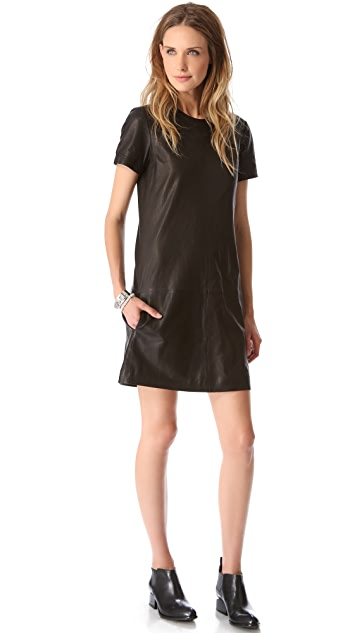 Theory Leather Eliora L Dress