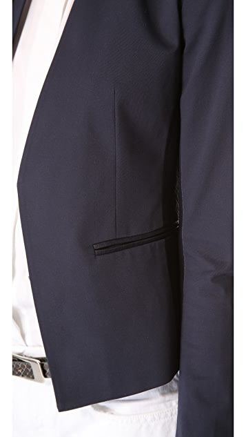Theory Lanai Leather Combo Blazer
