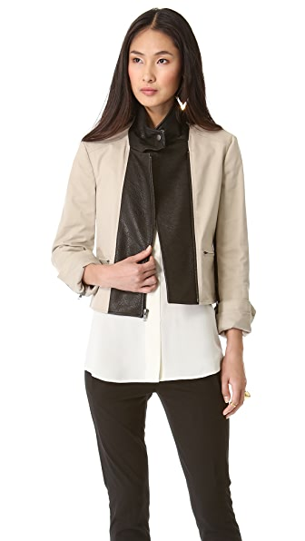Theory Velea Leather Combo Blazer