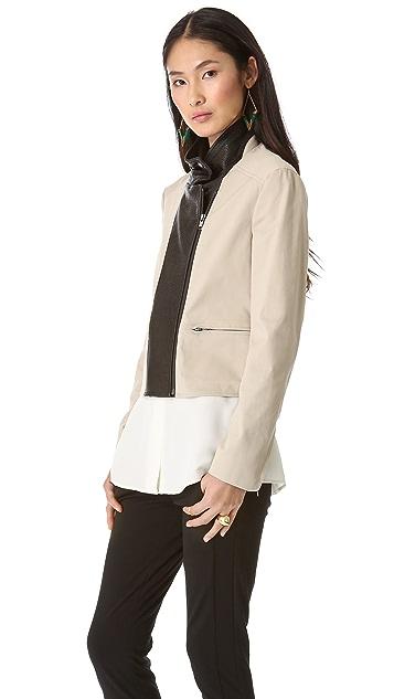Theory Velea Leather Combo Blazer