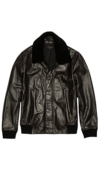 Theory Asmond Gamba Leather Bomber Jacket