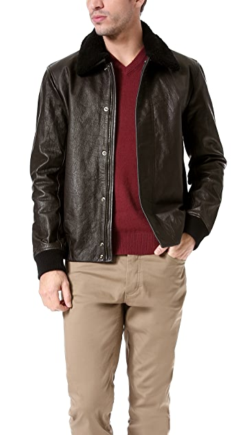 Theory Asmond Gamba Leather Bomber Jacket